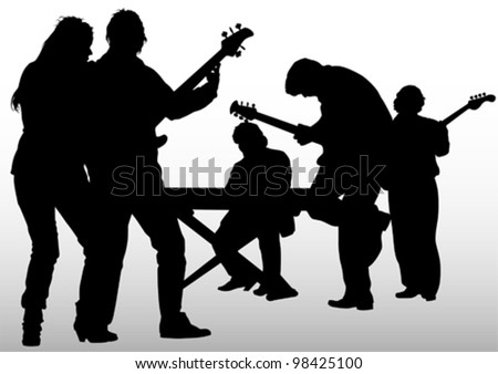 Vector image of musical rock group - stock vector