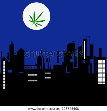 Vector image of night city landscape and the Moon with Marijuana leaf in abstract art style