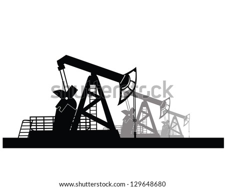 Vector image of oil derricks on the ground - stock vector