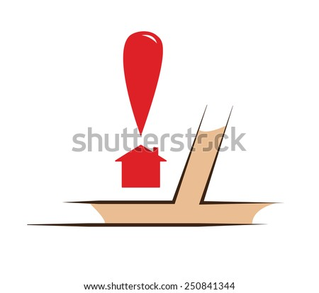 Vector image of part of a map with a house and a pointer - stock vector