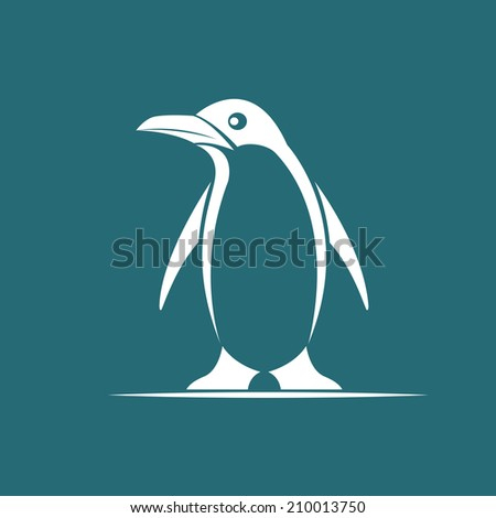 Vector image of penguin on blue background - stock vector