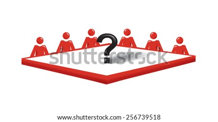 Vector image of people around a conference table with a question mark in the middle - stock vector