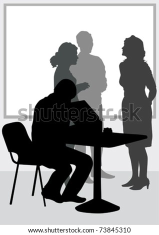 Vector image of people in office of table - stock vector