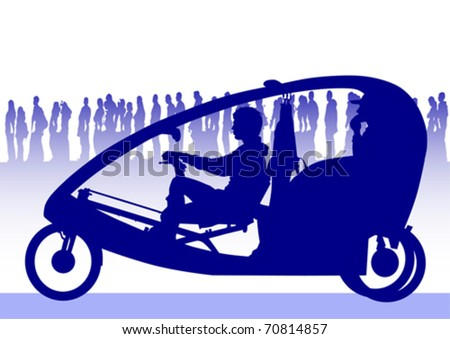 Vector image of people on velomobile on background of crowd - stock vector