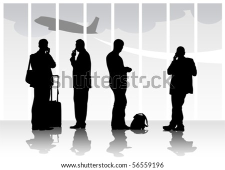 Vector image of people with luggage in airport - stock vector
