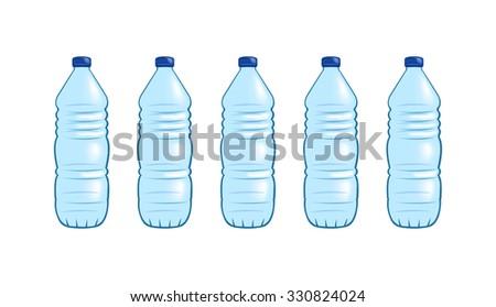 Vector image of plastic water bottles - stock vector