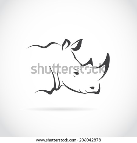 Vector image of rhino head on white background - stock vector