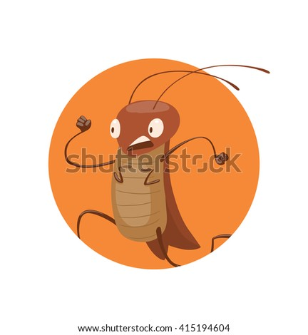 Vector image of round orange frame with cartoon image of a funny brown cockroach with antennae and six legs running somewhere in the center on a white background. Anthropomorphic cartoon cockroach. - stock vector