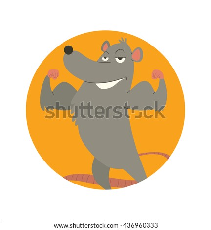 Vector image of round orange frame with cartoon image of a funny strong gray rat with a long pink tail standing, smiling and showing his biceps in the center on a white background. Vector illustration