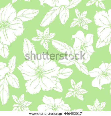 Vector image of seamless pattern of white petunias on a green background. White flowers silhouette. Vector seamless pattern.