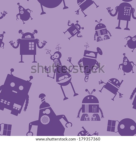 Vector image of seamless pattern with robots - stock vector
