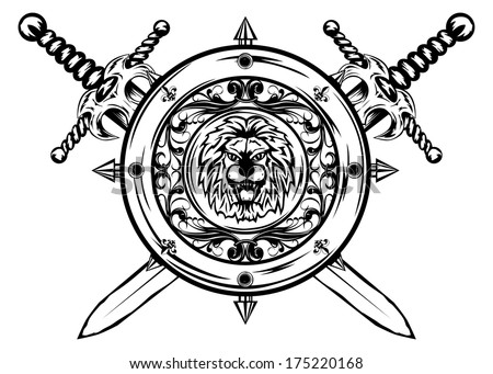 vector image of  shield and crossed swords - stock vector