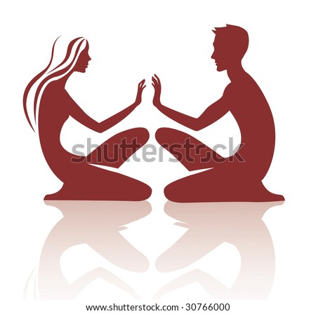 vector image of silhouette the sitting young woman and man - stock vector