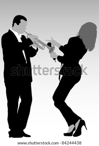 Vector image of singer and trumpet player
