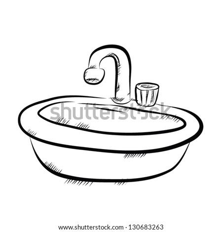 vector image of sink in bathroom drawing style  Vector Image Sink Bathroom  Drawing Style Stock. Bathroom Easy Drawing