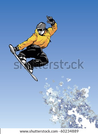 Vector image of snowboarder jumping through air with blue sky in background - stock vector