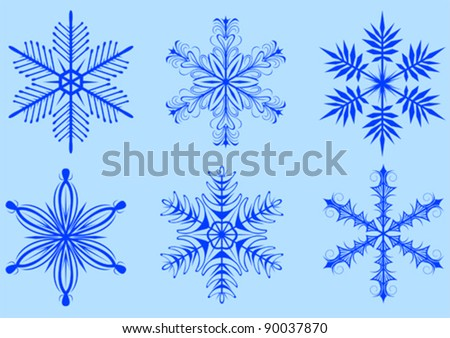 Vector image of snowflakes on a blue background