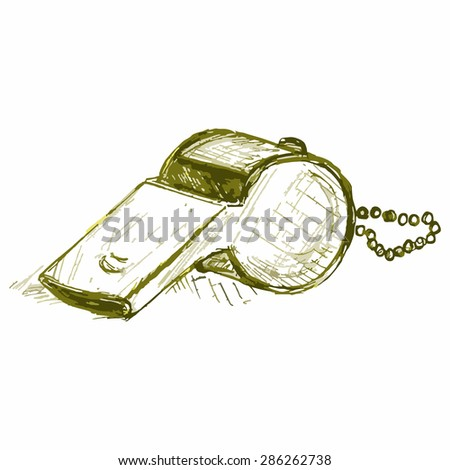 Vector image of sports whistle. Coaching whistle - stock vector
