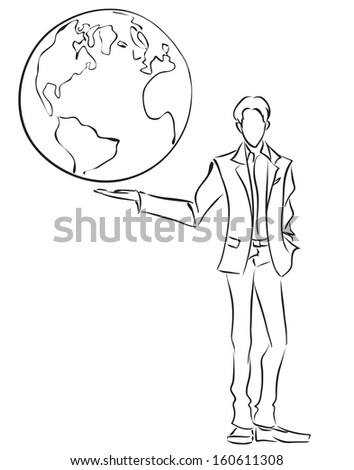 Vector image of symbolic businessman holding the globe on own hand, Business concept. Global communication, world management/Businessman and globe  - stock vector