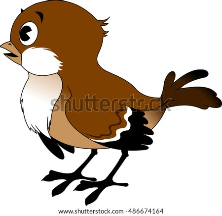 Vector image of the Cartoon smiling sparrow, illustration