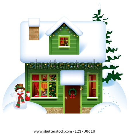 Vector image of the green wooden christmas house covered with snow with snowman and spruce - stock vector