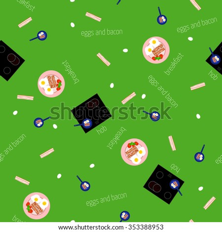Vector image of the hob and the ingredients for breakfast. Seamless pattern.