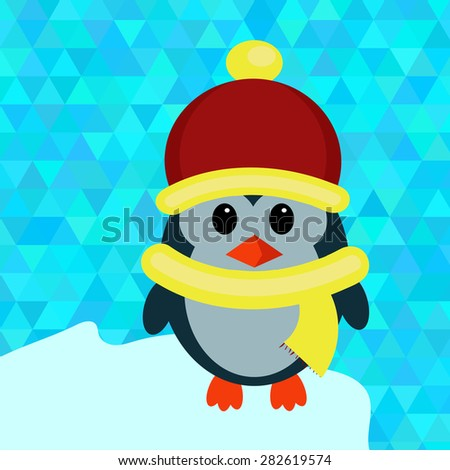 Vector image of the little Penguin on an ice floe - stock vector