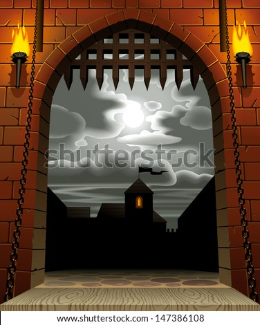 Vector image of the medieval castle gate with a drawbridge and torches against the night sky with the moon and clouds - stock vector