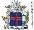 vector image of the national coat of arms of Iceland - stock photo