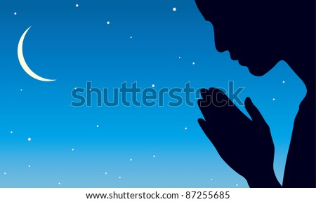 Vector image of the praying person against the background of the night sky with a crescent moon and stars - stock vector