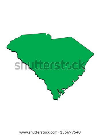 Vector Image of the State of South Carolina; Illustrator 8 - stock vector