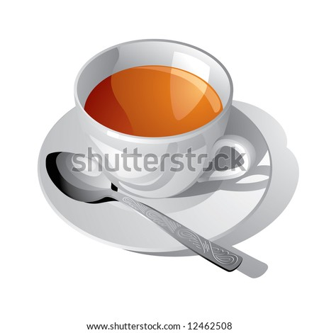 Vector image of the white cup of tea - stock vector