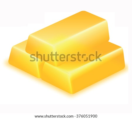 Vector image of three gold bars isolated on white background.