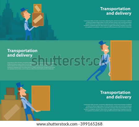 Vector image of three green horizontal banners. Horizontal banners with men porters. Cartoon men porters delivering large yellow boxes. Transportation and delivery. Vector banners with men porters. - stock vector