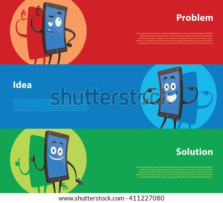 Vector image of three horizontal banners: red - problem, blue - idea, green - solution, with cartoon image of three black smartphones: thoughtful, happy and contented. Vector business illustration. - stock vector