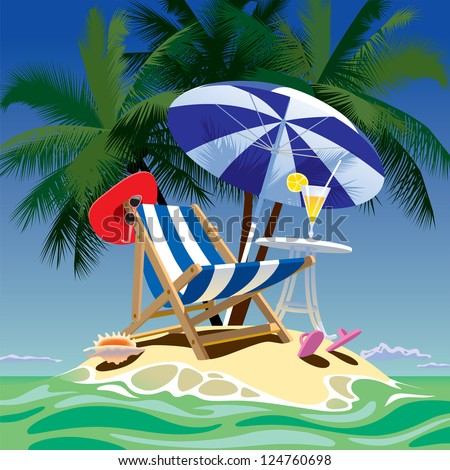 Vector image of tropical island with beach chair, umbrella and table, fruity cocktail, red hat and shell under the palms - stock vector