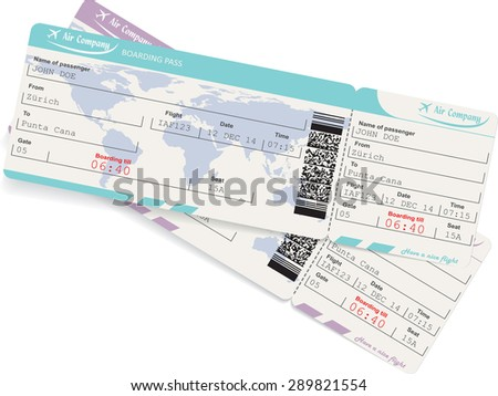Vector image of two airline boarding pass tickets with QR2 code. Isolated on white. Vector illustration - stock vector
