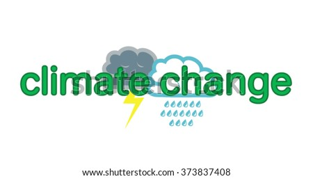 Vector image of various weather symbols and the words climate change - stock vector