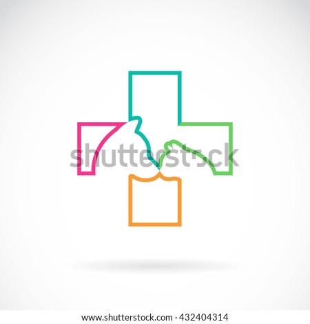 Vector image of veterinary symbol with dog and cat on white background - stock vector