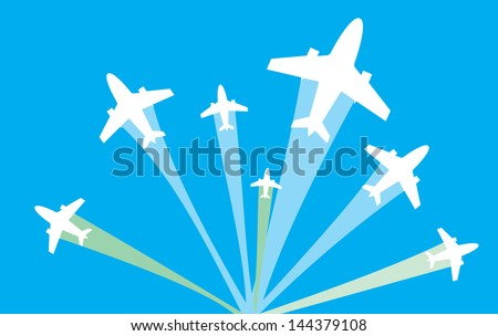 vector image of white silhouettes of jet airplanes fly to different ways, isolated on blue - stock vector