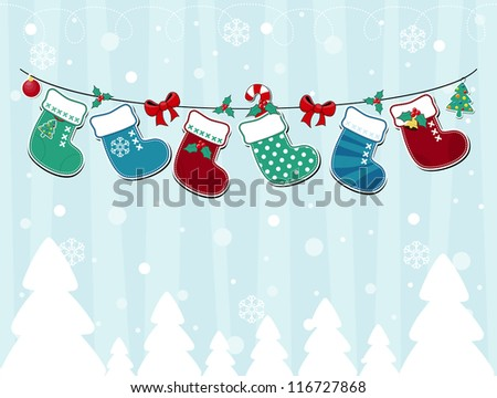 vector image of winter background with christmas socks and ornaments - stock vector