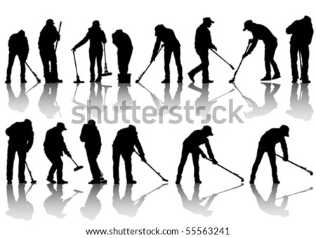 Vector image of women and man, sweeping leaves - stock vector