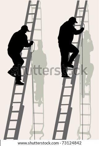 Vector image of working on a high ladder against wall - stock vector