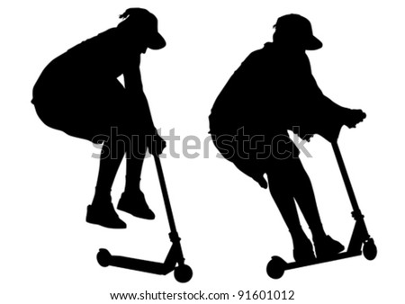 Vector image of young men on scooters