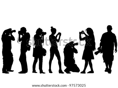 Vector image of young photographers with equipment at work - stock vector