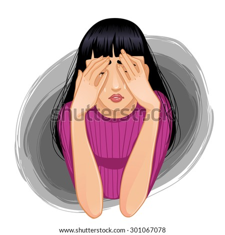 Vector image of young sad crying woman who closes her face with her hands, eps10 - stock vector