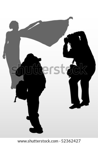 Vector image of young women and boy photographers with equipment at work