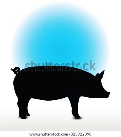 Vector Image, pig silhouette, in Curl Tail pose, isolated on white background