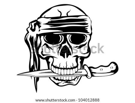 Vector image pirate with dagger - stock vector