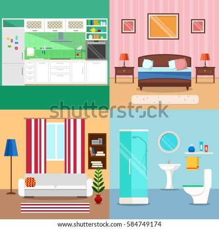 Room Interior Background Set Of Bedroom Living Kitchen